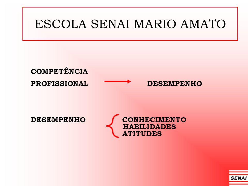 ESCOLA SENAI MARIO AMATO COMPETÊNCIA PROFISSIONAL DESEMPENHO DESEMPENHO CONHECIMENTO HABILIDADES ATITUDES