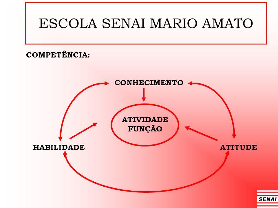 ESCOLA SENAI MARIO AMATO COMPETÊNCIA: CONHECIMENTO ATIVIDADE FUNÇÃO HABILIDADE ATITUDE