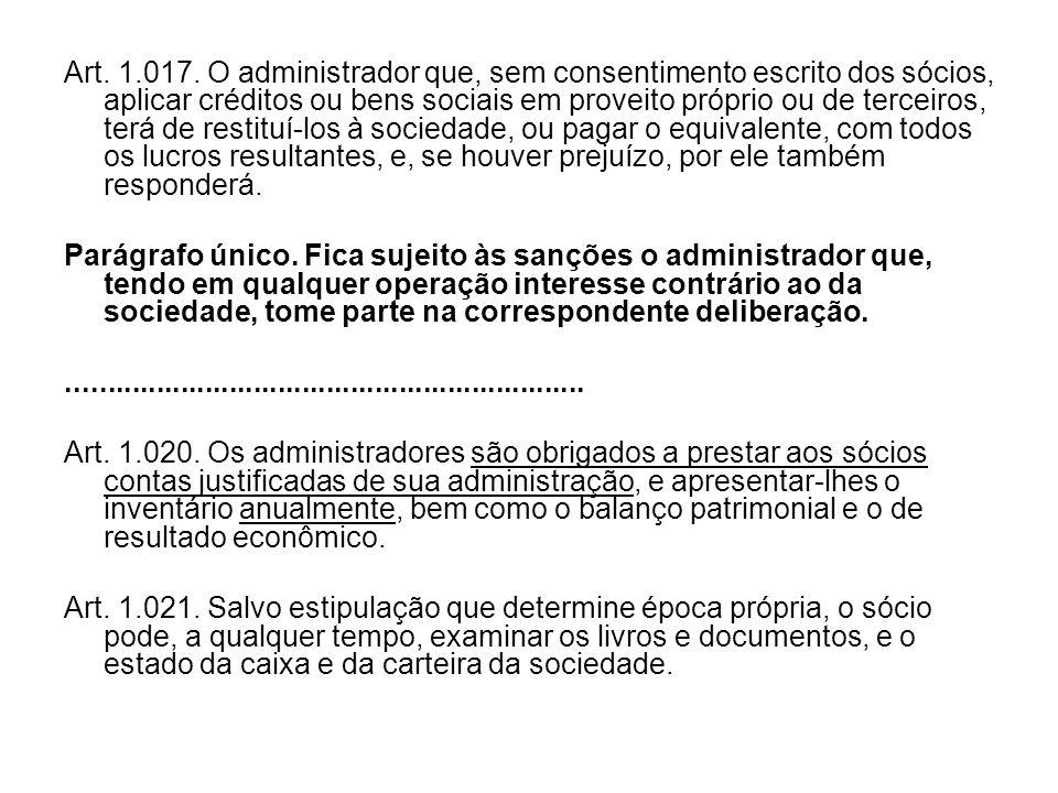 Art. 1.017. O administrador que, sem consentimento escrito dos sócios, aplicar créditos ou bens sociais em proveito próprio ou de terceiros, terá de r