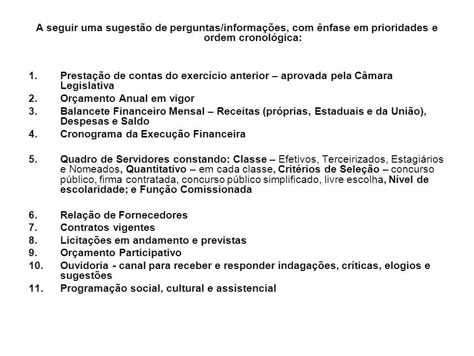 A seguir uma sugestão de perguntas/informações, com ênfase em prioridades e ordem cronológica: 1.Prestação de contas do exercício anterior – aprovada pela Câmara Legislativa 2.Orçamento Anual em vigor 3.Balancete Financeiro Mensal – Receitas (próprias, Estaduais e da União), Despesas e Saldo 4.Cronograma da Execução Financeira 5.Quadro de Servidores constando: Classe – Efetivos, Terceirizados, Estagiários e Nomeados, Quantitativo – em cada classe, Critérios de Seleção – concurso público, firma contratada, concurso público simplificado, livre escolha, Nível de escolaridade; e Função Comissionada 6.Relação de Fornecedores 7.Contratos vigentes 8.Licitações em andamento e previstas 9.Orçamento Participativo 10.Ouvidoria - canal para receber e responder indagações, críticas, elogios e sugestões 11.Programação social, cultural e assistencial