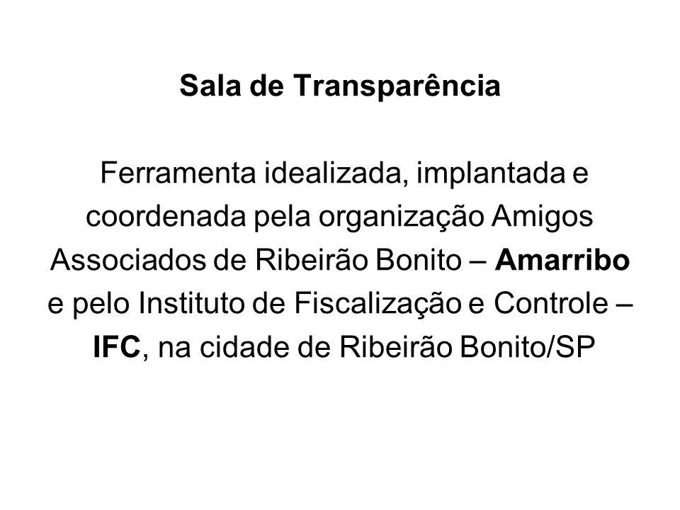 Sala de Transparência Ferramenta idealizada, implantada e coordenada pela organização Amigos Associados de Ribeirão Bonito – Amarribo e pelo Instituto