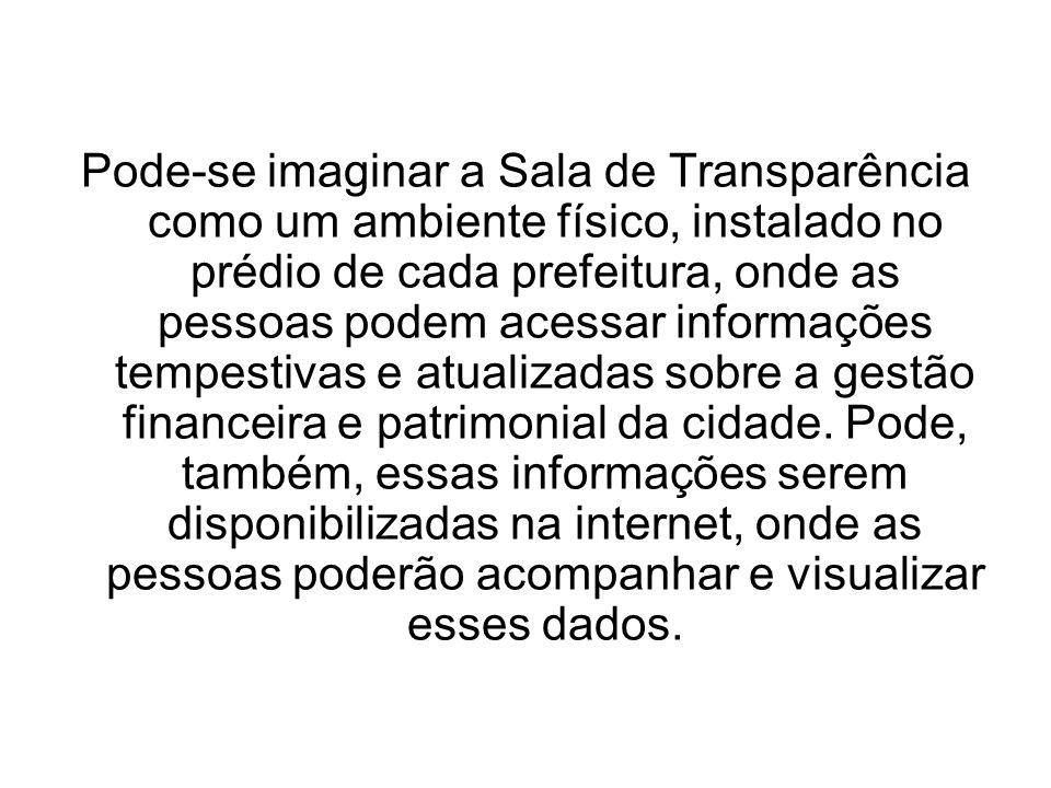 Pode-se imaginar a Sala de Transparência como um ambiente físico, instalado no prédio de cada prefeitura, onde as pessoas podem acessar informações te