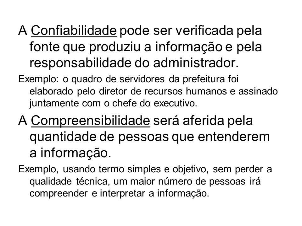 A Confiabilidade pode ser verificada pela fonte que produziu a informação e pela responsabilidade do administrador. Exemplo: o quadro de servidores da