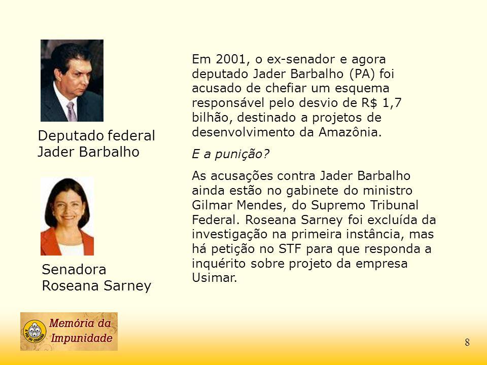 Deputado federal Jader Barbalho Em 2001, o ex-senador e agora deputado Jader Barbalho (PA) foi acusado de chefiar um esquema responsável pelo desvio d
