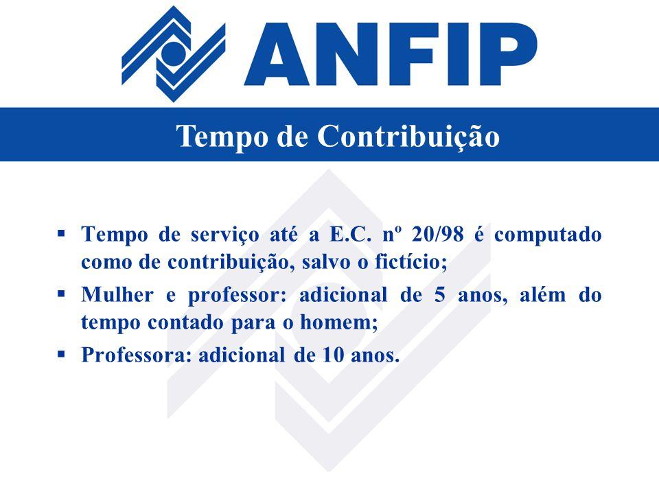 Tempo de serviço até a E.C. nº 20/98 é computado como de contribuição, salvo o fictício; Mulher e professor: adicional de 5 anos, além do tempo contad