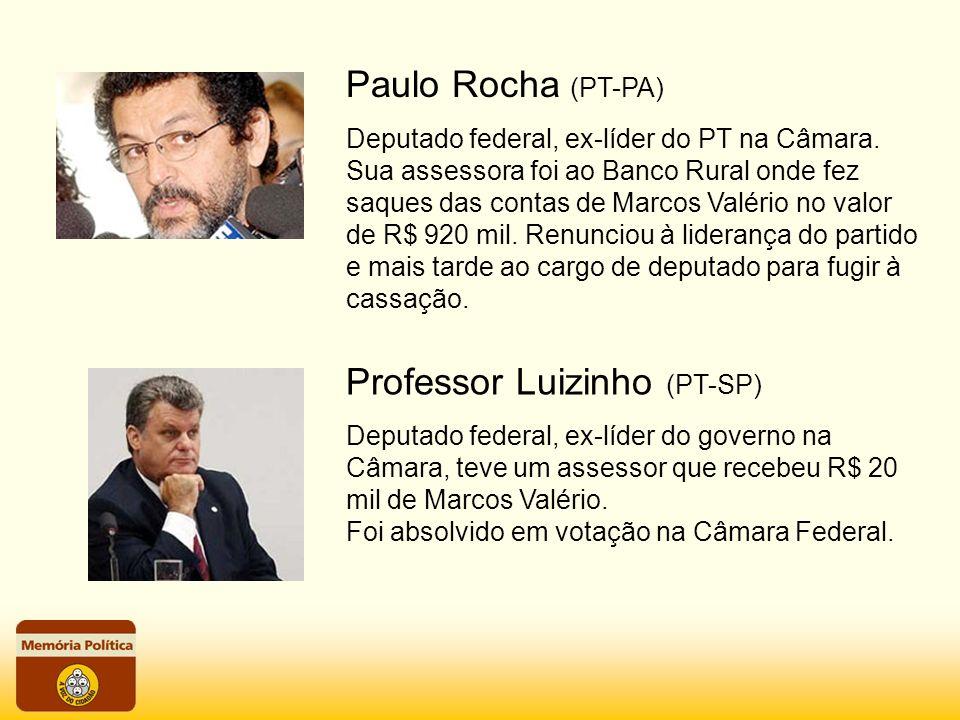 Paulo Rocha (PT-PA) Deputado federal, ex-líder do PT na Câmara. Sua assessora foi ao Banco Rural onde fez saques das contas de Marcos Valério no valor
