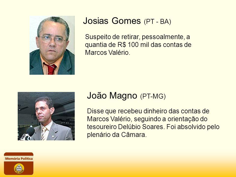 Disse que recebeu dinheiro das contas de Marcos Valério, seguindo a orientação do tesoureiro Delúbio Soares. Foi absolvido pelo plenário da Câmara. Su