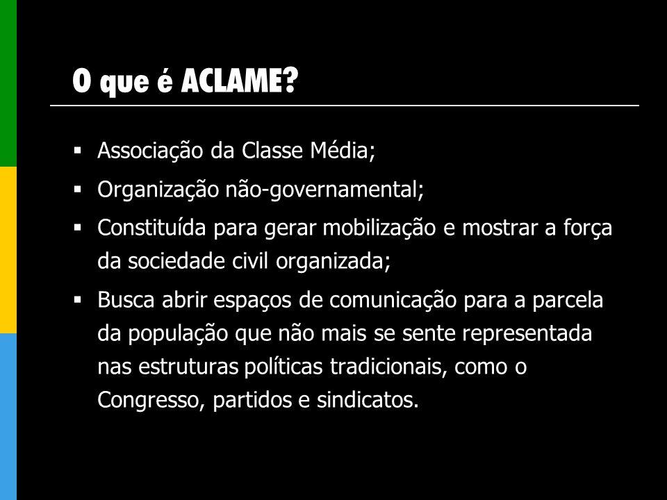 O que é ACLAME? Associação da Classe Média; Organização não-governamental; Constituída para gerar mobilização e mostrar a força da sociedade civil org