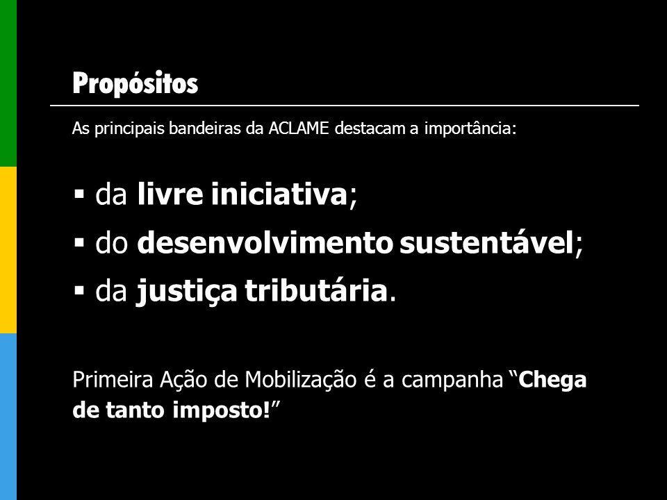 Propósitos As principais bandeiras da ACLAME destacam a importância: da livre iniciativa; do desenvolvimento sustentável; da justiça tributária. Prime