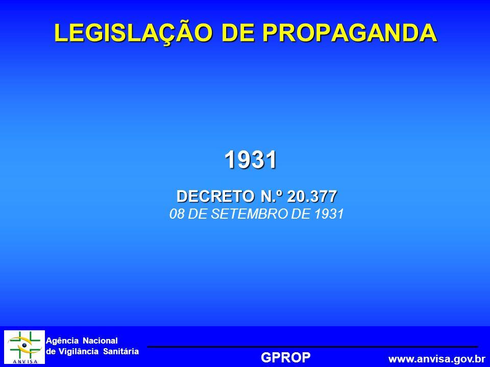 Agência Nacional de Vigilância Sanitária GPROP www.anvisa.gov.br 1931 LEGISLAÇÃO DE PROPAGANDA DECRETO N.º 20.377 08 DE SETEMBRO DE 1931