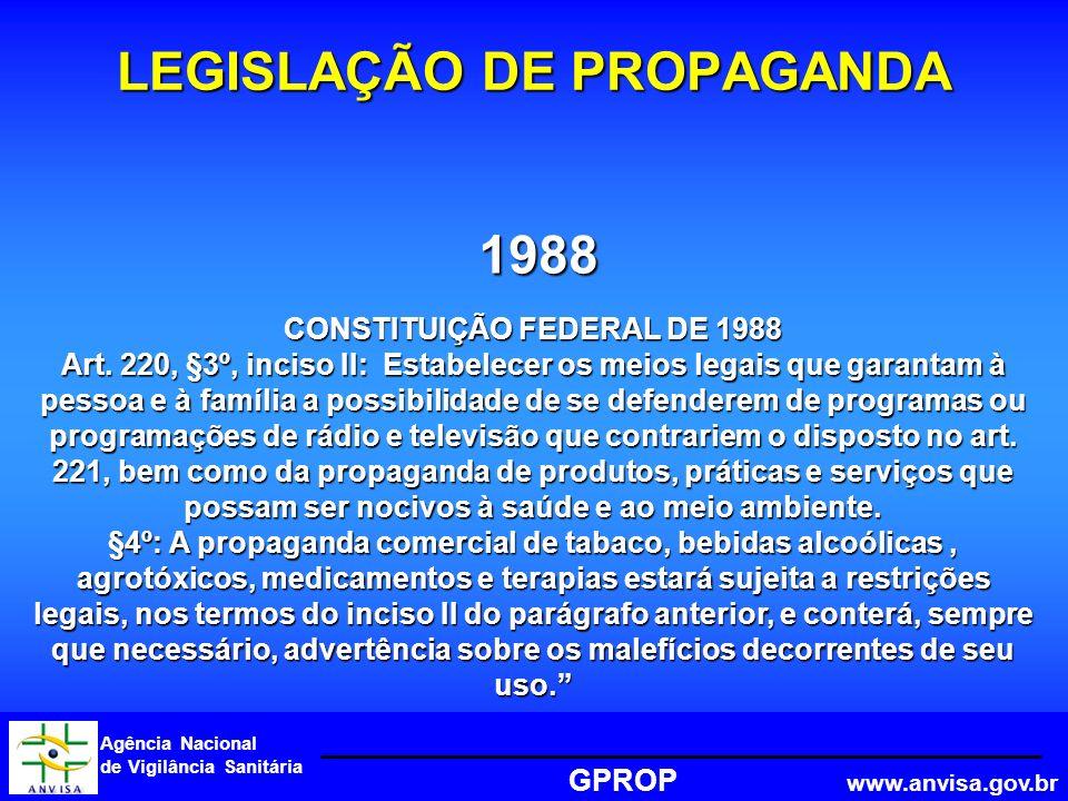Agência Nacional de Vigilância Sanitária GPROP www.anvisa.gov.br 1988 LEGISLAÇÃO DE PROPAGANDA CONSTITUIÇÃO FEDERAL DE 1988 Art.