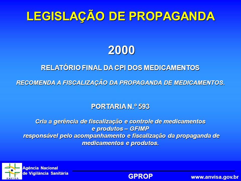 Agência Nacional de Vigilância Sanitária GPROP www.anvisa.gov.br 2000 LEGISLAÇÃO DE PROPAGANDA RELATÓRIO FINAL DA CPI DOS MEDICAMENTOS RECOMENDA A FISCALIZAÇÃO DA PROPAGANDA DE MEDICAMENTOS.