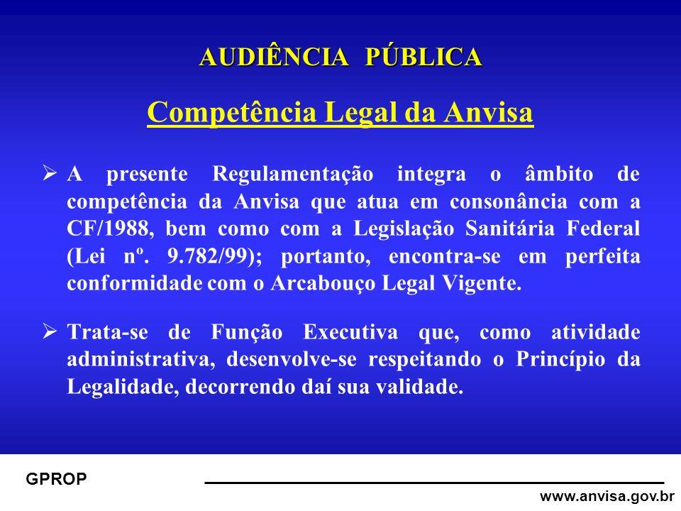 www.anvisa.gov.br GPROP AUDIÊNCIA PÚBLICA Competência Legal da Anvisa A presente Regulamentação integra o âmbito de competência da Anvisa que atua em consonância com a CF/1988, bem como com a Legislação Sanitária Federal (Lei nº.