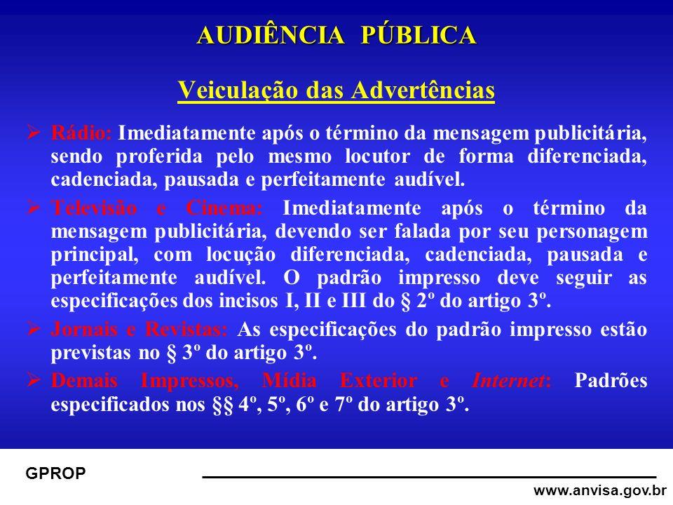 www.anvisa.gov.br GPROP AUDIÊNCIA PÚBLICA Veiculação das Advertências Rádio: Imediatamente após o término da mensagem publicitária, sendo proferida pelo mesmo locutor de forma diferenciada, cadenciada, pausada e perfeitamente audível.