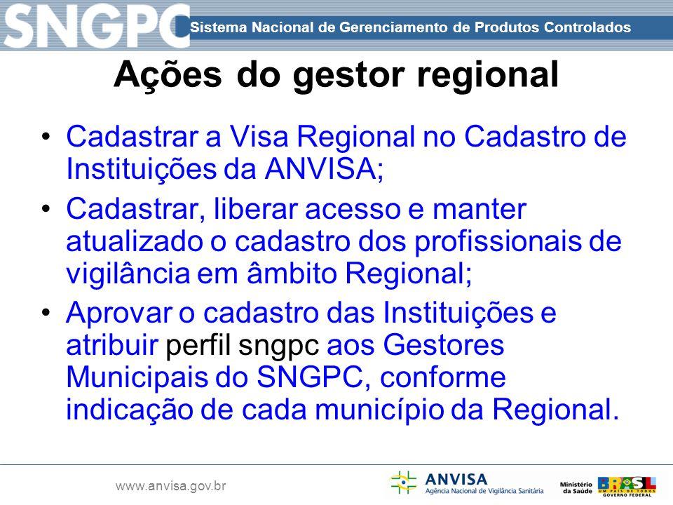 Sistema Nacional de Gerenciamento de Produtos Controlados www.anvisa.gov.br Ações do gestor regional Cadastrar a Visa Regional no Cadastro de Institui