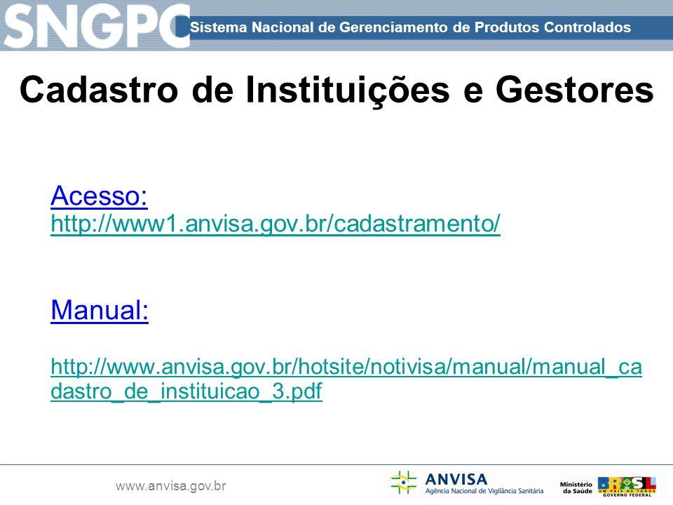 Sistema Nacional de Gerenciamento de Produtos Controlados www.anvisa.gov.br Cadastro de Instituições e Gestores Acesso: http://www1.anvisa.gov.br/cada