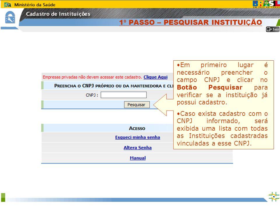 Sistema Nacional de Gerenciamento de Produtos Controlados www.anvisa.gov.br 1 º PASSO – PESQUISAR INSTITUI Ç ÃO Em primeiro lugar é necessário preench