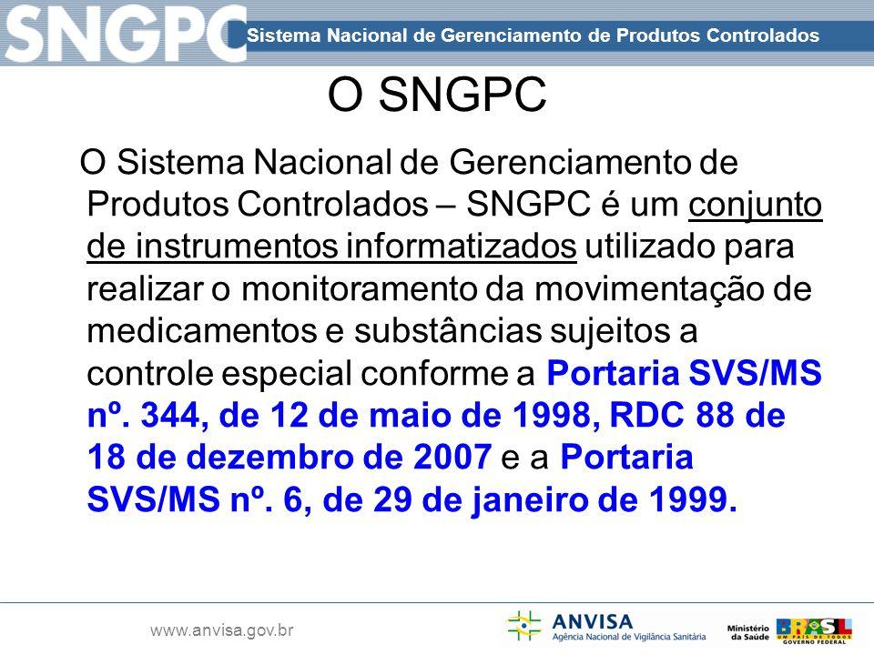 Sistema Nacional de Gerenciamento de Produtos Controlados www.anvisa.gov.br O SNGPC O Sistema Nacional de Gerenciamento de Produtos Controlados – SNGP