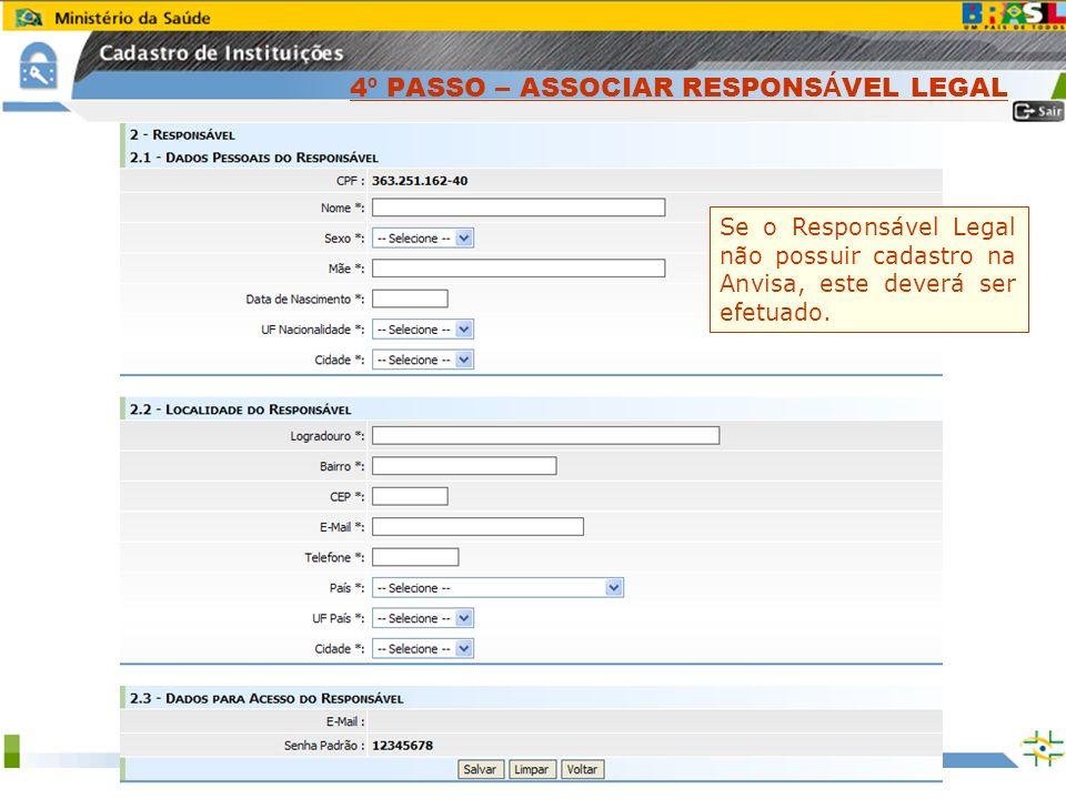 Sistema Nacional de Gerenciamento de Produtos Controlados www.anvisa.gov.br Clique no Botão Associar Responsável. Informe o CPF do Responsável Legal.