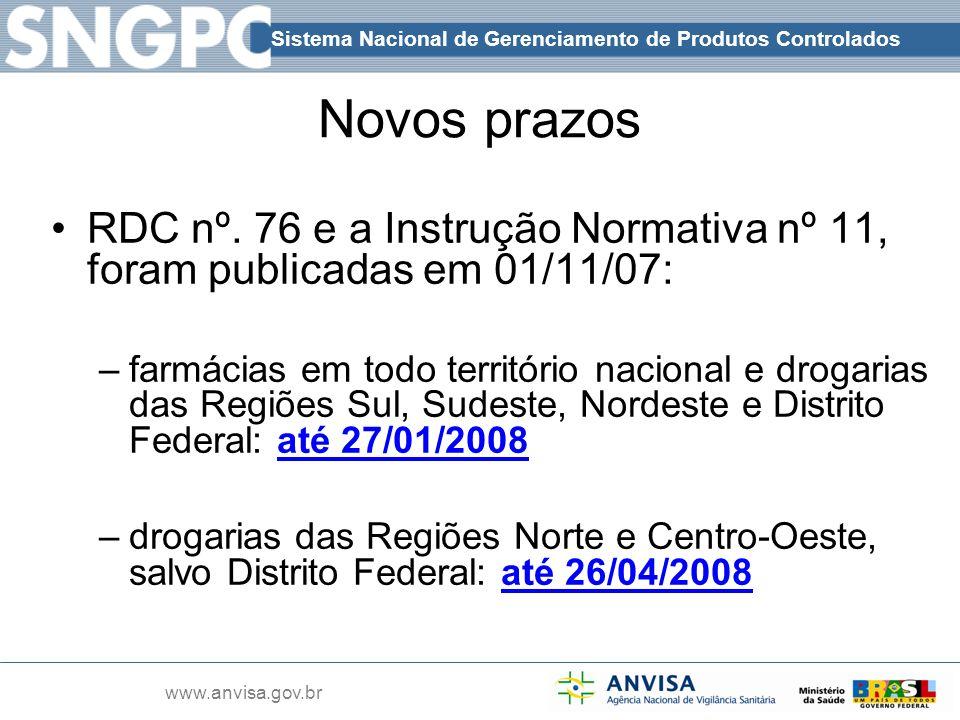 Sistema Nacional de Gerenciamento de Produtos Controlados www.anvisa.gov.br Novos prazos RDC nº. 76 e a Instrução Normativa nº 11, foram publicadas em
