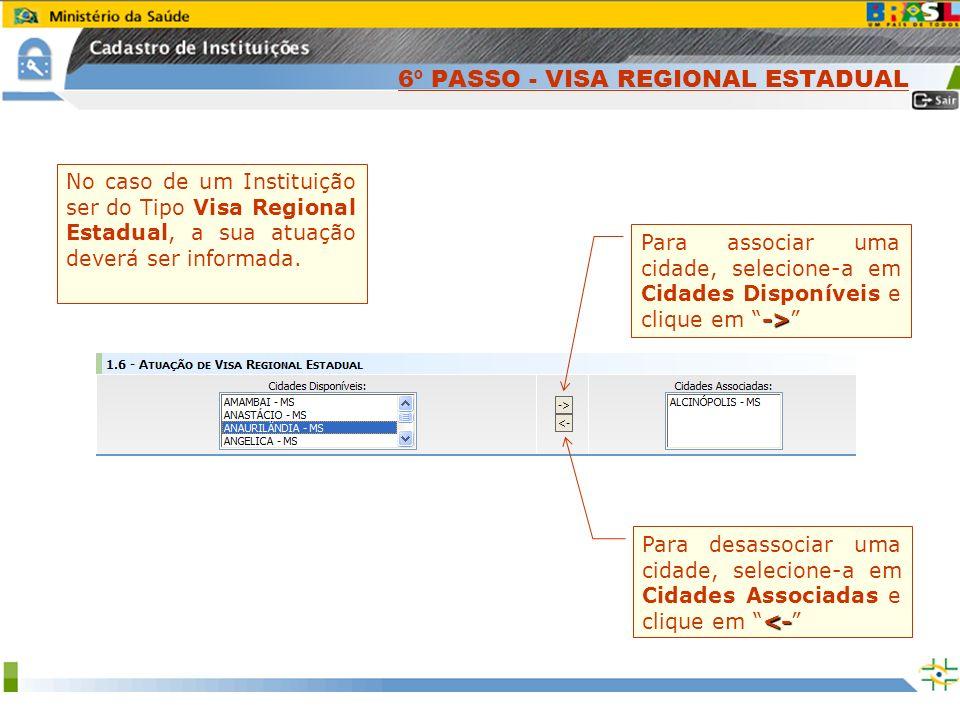 Sistema Nacional de Gerenciamento de Produtos Controlados www.anvisa.gov.br No caso de um Instituição ser do Tipo Visa Regional Estadual, a sua atuaçã