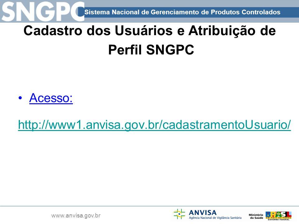 Sistema Nacional de Gerenciamento de Produtos Controlados www.anvisa.gov.br Cadastro dos Usuários e Atribuição de Perfil SNGPC Acesso: http://www1.anv