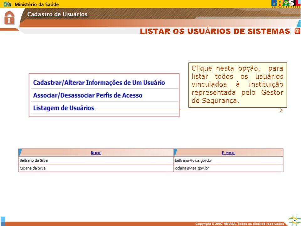 Sistema Nacional de Gerenciamento de Produtos Controlados www.anvisa.gov.br Clique nesta opção, para listar todos os usuários vinculados à instituição