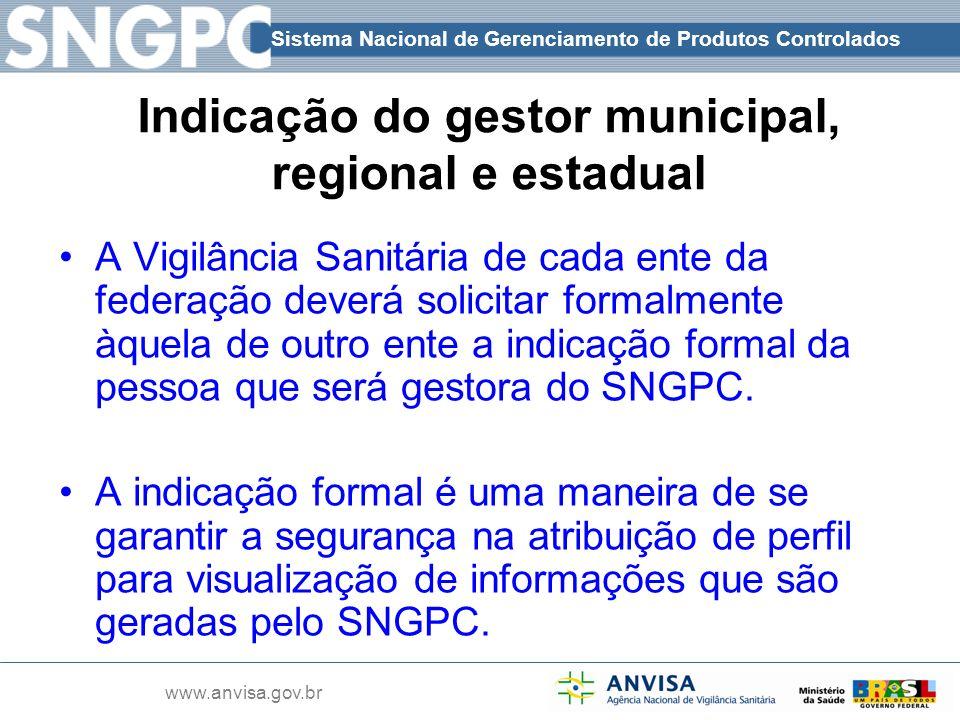 Sistema Nacional de Gerenciamento de Produtos Controlados www.anvisa.gov.br Indicação do gestor municipal, regional e estadual A Vigilância Sanitária