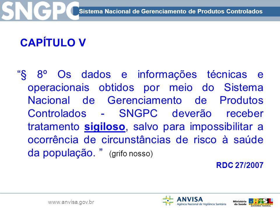 Sistema Nacional de Gerenciamento de Produtos Controlados www.anvisa.gov.br CAPÍTULO V § 8º Os dados e informações técnicas e operacionais obtidos por