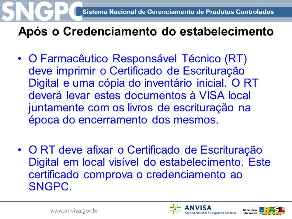 Sistema Nacional de Gerenciamento de Produtos Controlados www.anvisa.gov.br O Farmacêutico Responsável Técnico (RT) deve imprimir o Certificado de Esc