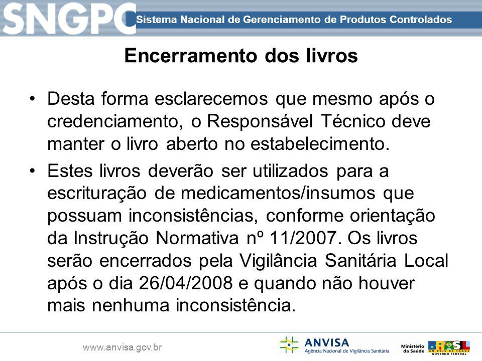 Sistema Nacional de Gerenciamento de Produtos Controlados www.anvisa.gov.br Encerramento dos livros Desta forma esclarecemos que mesmo após o credenci