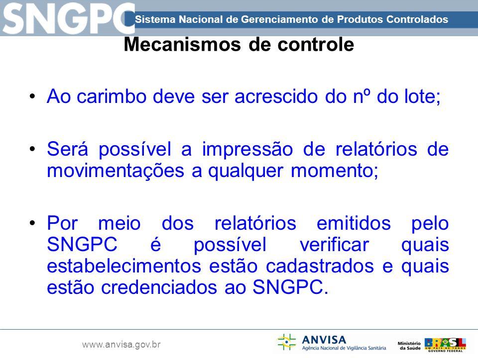Sistema Nacional de Gerenciamento de Produtos Controlados www.anvisa.gov.br Mecanismos de controle Ao carimbo deve ser acrescido do nº do lote; Será p