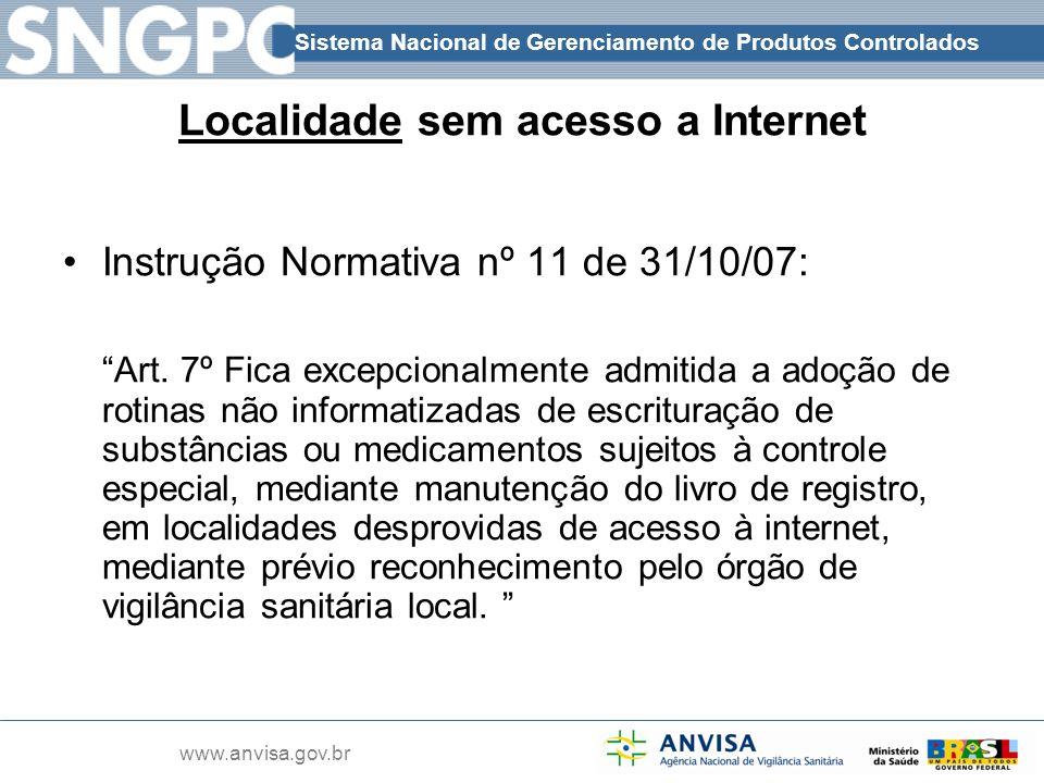 Sistema Nacional de Gerenciamento de Produtos Controlados www.anvisa.gov.br Localidade sem acesso a Internet Instrução Normativa nº 11 de 31/10/07: Ar
