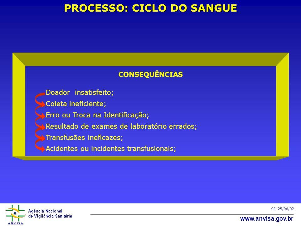 Agência Nacional de Vigilância Sanitária www.anvisa.gov.br SP. 25/06/02 PROCESSO: CICLO DO SANGUE CONSEQUÊNCIAS Doador insatisfeito; Coleta ineficient
