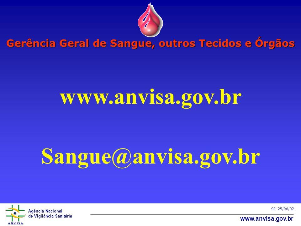 Agência Nacional de Vigilância Sanitária www.anvisa.gov.br SP. 25/06/02 Gerência Geral de Sangue, outros Tecidos e Órgãos www.anvisa.gov.br Sangue@anv
