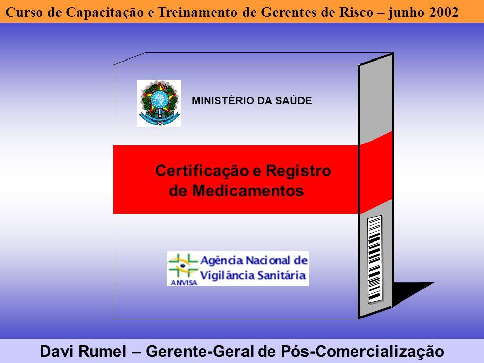 Certificação e Registro de Medicamentos MINISTÉRIO DA SAÚDE Curso de Capacitação e Treinamento de Gerentes de Risco – junho 2002 Davi Rumel – Gerente-