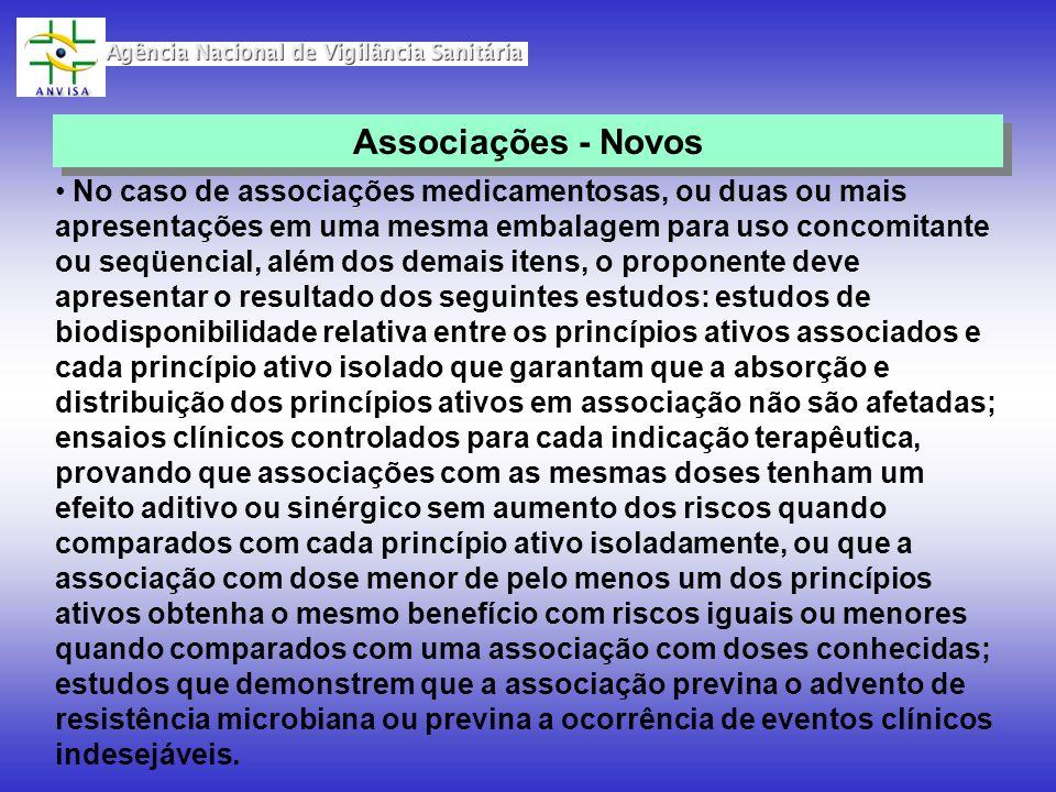 No caso de associações medicamentosas, ou duas ou mais apresentações em uma mesma embalagem para uso concomitante ou seqüencial, além dos demais itens