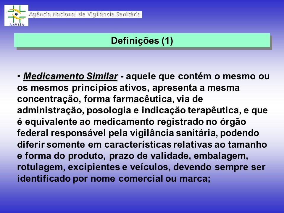 Medicamento Similar Medicamento Similar - aquele que contém o mesmo ou os mesmos princípios ativos, apresenta a mesma concentração, forma farmacêutica