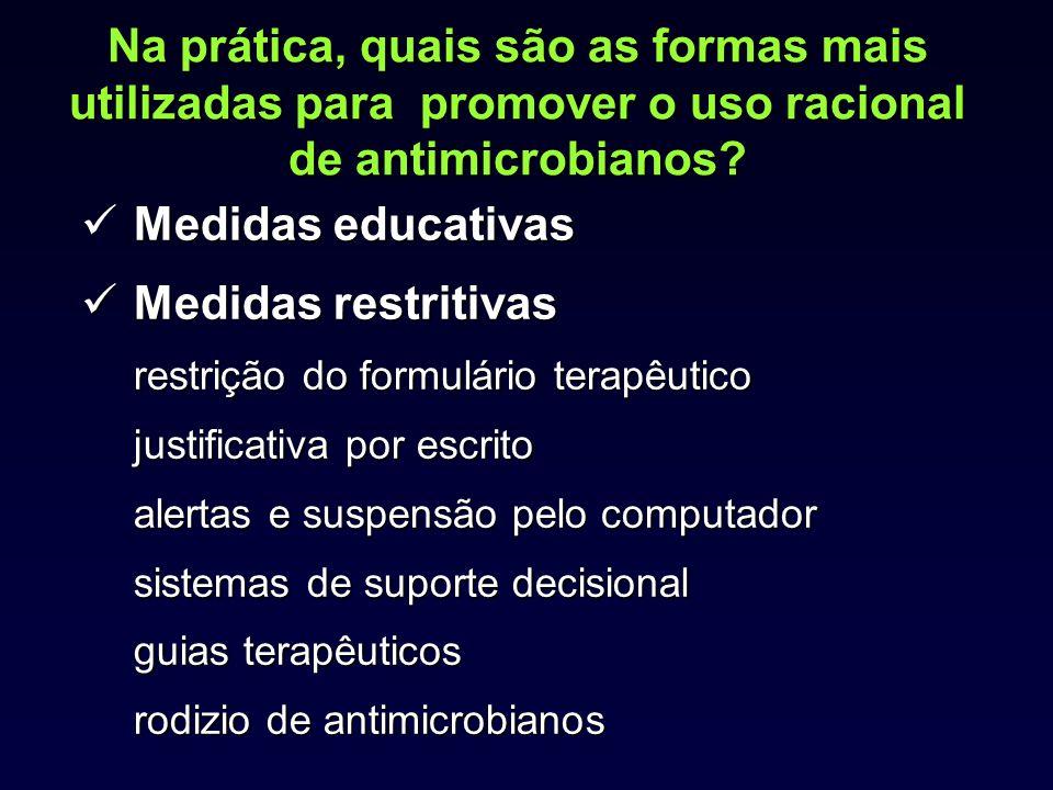 Na prática, quais são as formas mais utilizadas para promover o uso racional de antimicrobianos? Medidas educativas Medidas restritivas Medidas restri