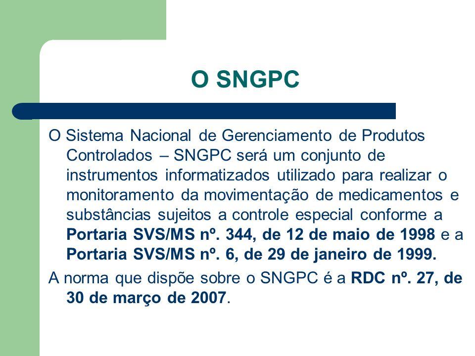 O SNGPC O Sistema Nacional de Gerenciamento de Produtos Controlados – SNGPC será um conjunto de instrumentos informatizados utilizado para realizar o monitoramento da movimentação de medicamentos e substâncias sujeitos a controle especial conforme a Portaria SVS/MS nº.