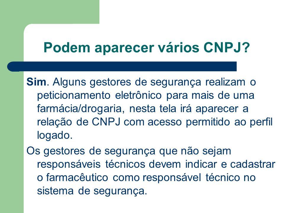 Podem aparecer vários CNPJ.Sim.