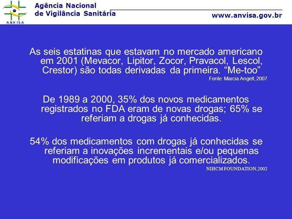 Agência Nacional de Vigilância Sanitária www.anvisa.gov.br As seis estatinas que estavam no mercado americano em 2001 (Mevacor, Lipitor, Zocor, Pravac