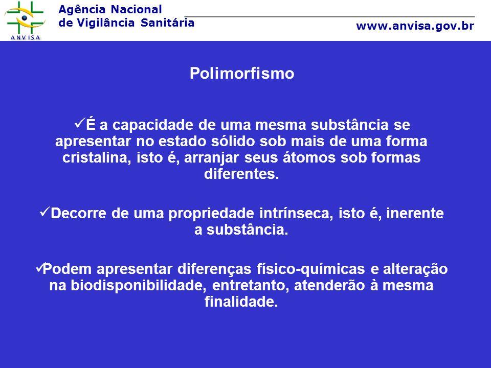 Agência Nacional de Vigilância Sanitária www.anvisa.gov.br Polimorfismo É a capacidade de uma mesma substância se apresentar no estado sólido sob mais