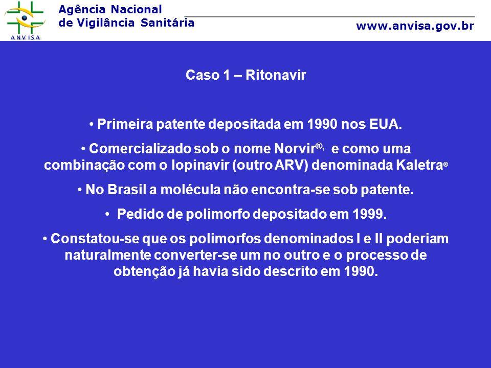 Agência Nacional de Vigilância Sanitária www.anvisa.gov.br Caso 1 – Ritonavir Primeira patente depositada em 1990 nos EUA. Comercializado sob o nome N
