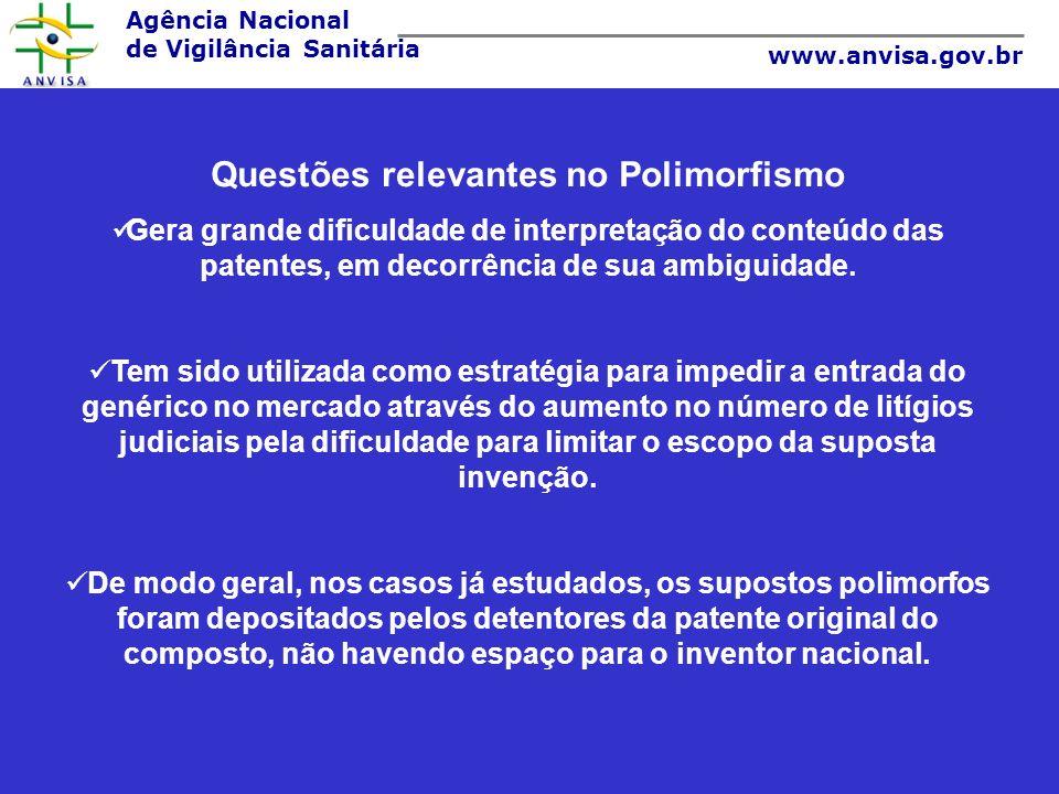 Agência Nacional de Vigilância Sanitária www.anvisa.gov.br Questões relevantes no Polimorfismo Gera grande dificuldade de interpretação do conteúdo da