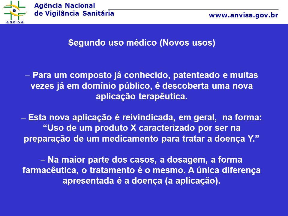 Agência Nacional de Vigilância Sanitária www.anvisa.gov.br Segundo uso médico (Novos usos) – Para um composto já conhecido, patenteado e muitas vezes