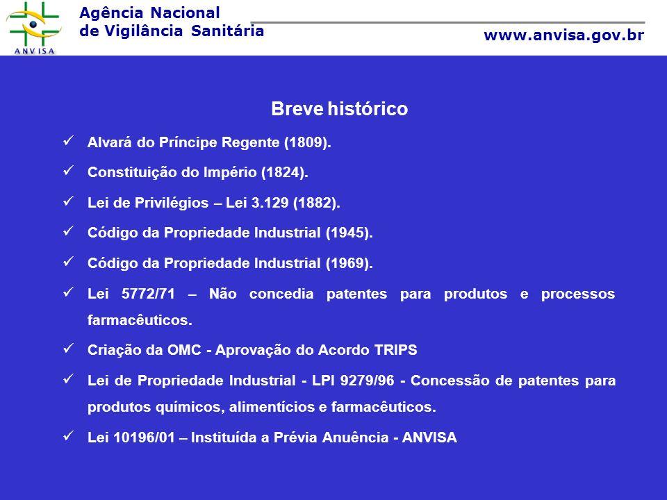 Agência Nacional de Vigilância Sanitária www.anvisa.gov.br Lei 10196/01- Altera e acresce dispositivos à Lei n o 9.279, de 14 de maio de 1996, que regula direitos e obrigações relativos à propriedade industrial, e dá outras providências.