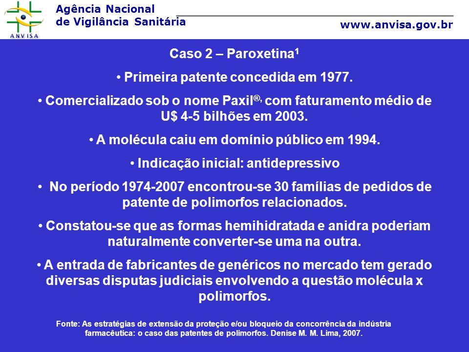 Agência Nacional de Vigilância Sanitária www.anvisa.gov.br Caso 2 – Paroxetina 1 Primeira patente concedida em 1977. Comercializado sob o nome Paxil ®