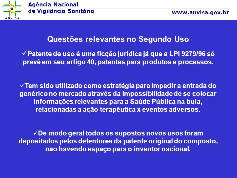 Agência Nacional de Vigilância Sanitária www.anvisa.gov.br Questões relevantes no Segundo Uso Patente de uso é uma ficção jurídica já que a LPI 9279/9