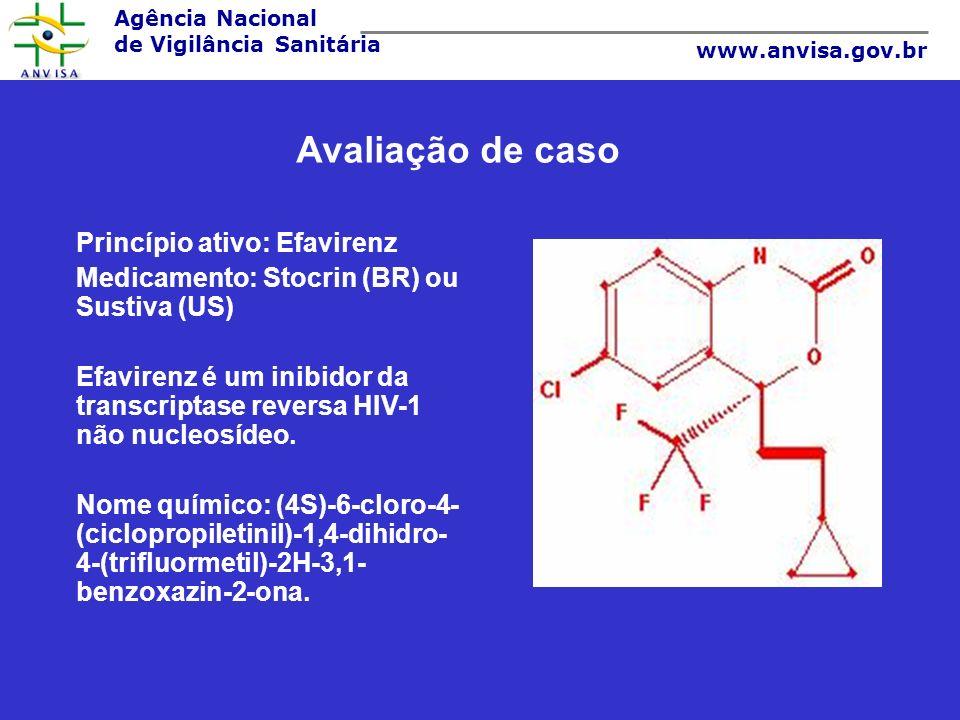 Agência Nacional de Vigilância Sanitária www.anvisa.gov.br Princípio ativo: Efavirenz Medicamento: Stocrin (BR) ou Sustiva (US) Efavirenz é um inibido
